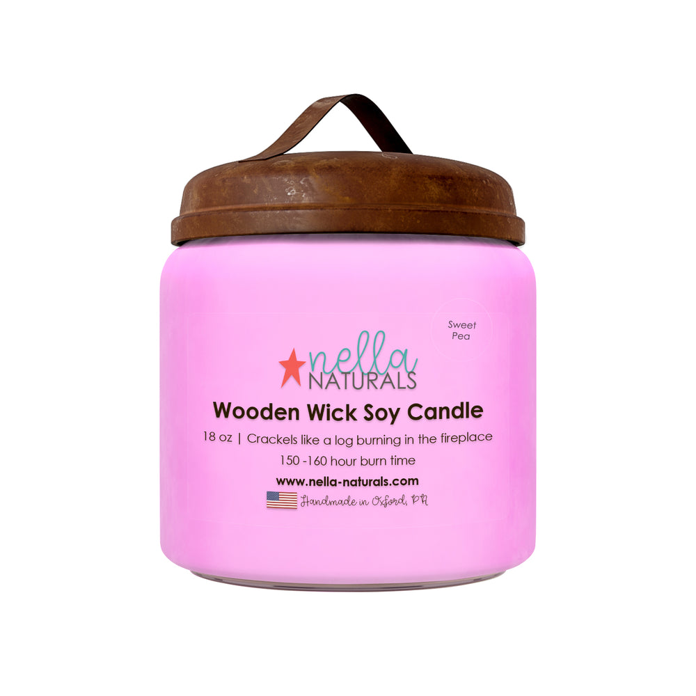 18oz Sweet Pea Wooden Wick Candle