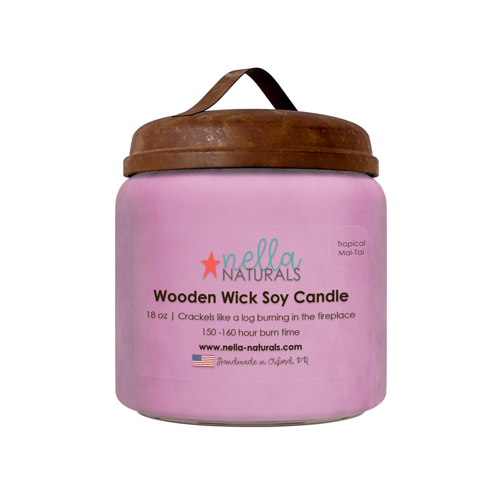 18oz Tropical Mai-Tai Wooden Wick Candle