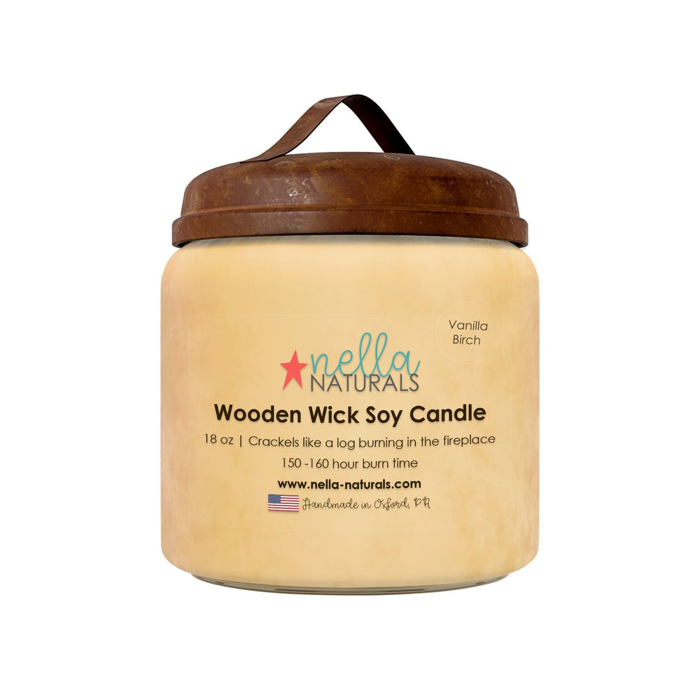 18oz Vanilla Birch Wooden Wick Candle