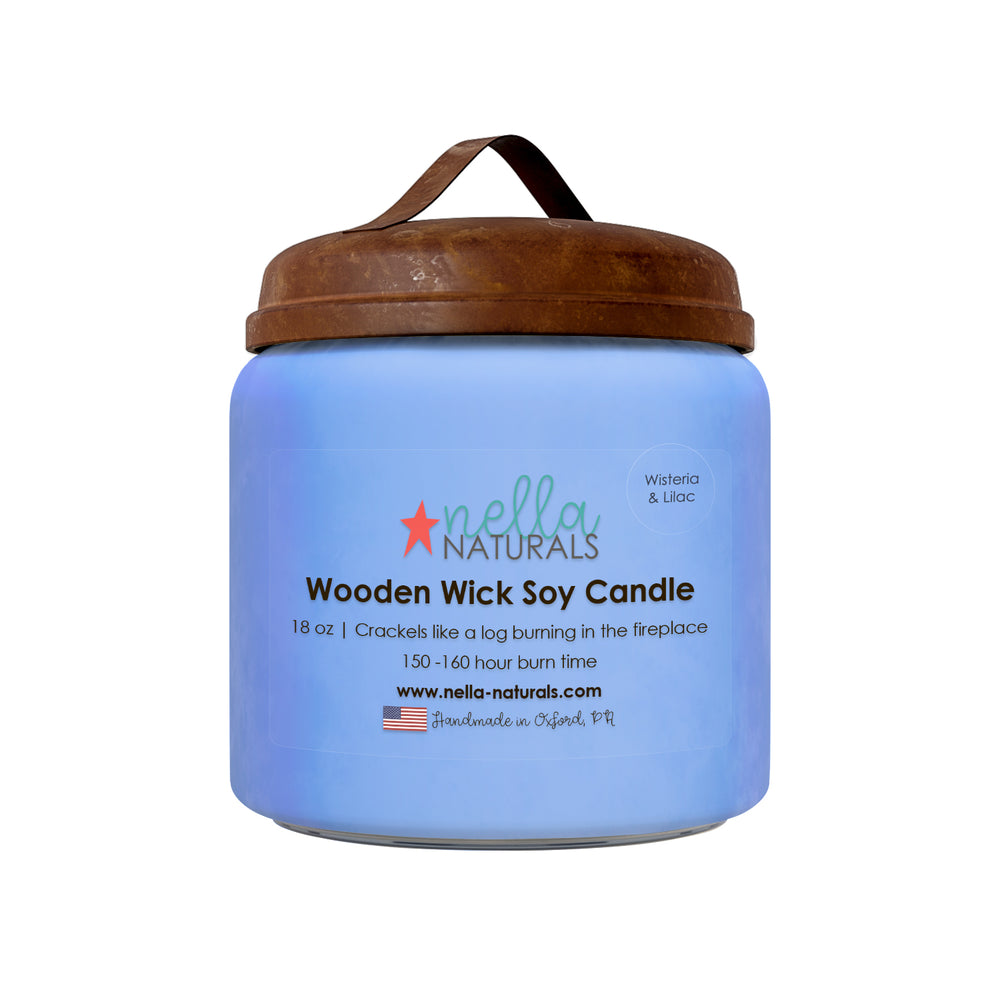18oz Wisteria & Lilac Wooden Wick Candle