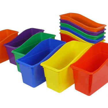 Book Bins, Plastic Multi-Color Set of 6