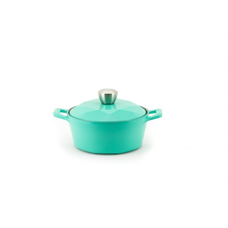 Neoflam Carat Fresh Green Collection - Stock Pot with Die Cast Lid 1.6 Litre 20cm