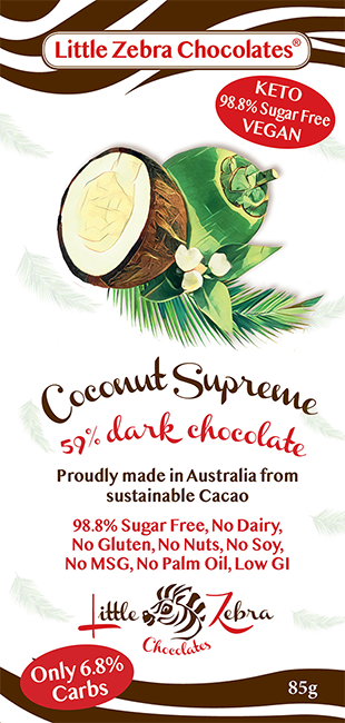 Little Zebra Coconut Supreme Dark Chocolate - 85g