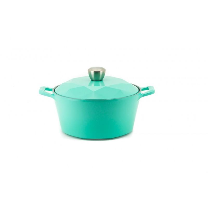 Neoflam Carat Fresh Green Collection - Stock Pot with Die Cast Lid 2.8 Litre 24cm