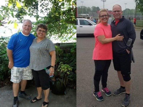 Andrea Dutton and husband before and after