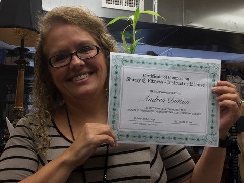 Shazzy Fitness certified instructor Andrea Dutton