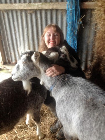 Kathryn with goats