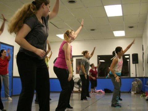 Newly certified Shazzy itness instructor Jennifer Rogers teaching local class