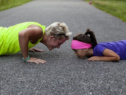 push-up exercise together family mother child