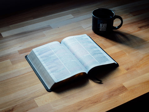 bible and mug on the table