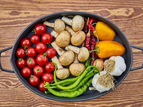 vegan lifestyle skillet vegetables cooking