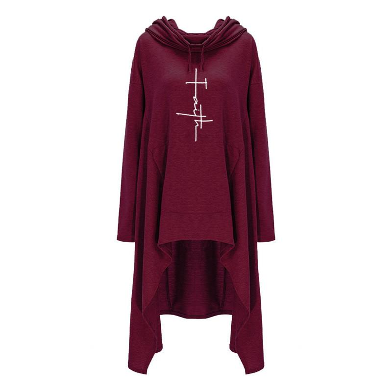 2018 New Fashion Faith Print Sweatshirts Hoodies Femmes Women Female Girls Pattern Plus Size Long Sleeve Pullovers for Woman