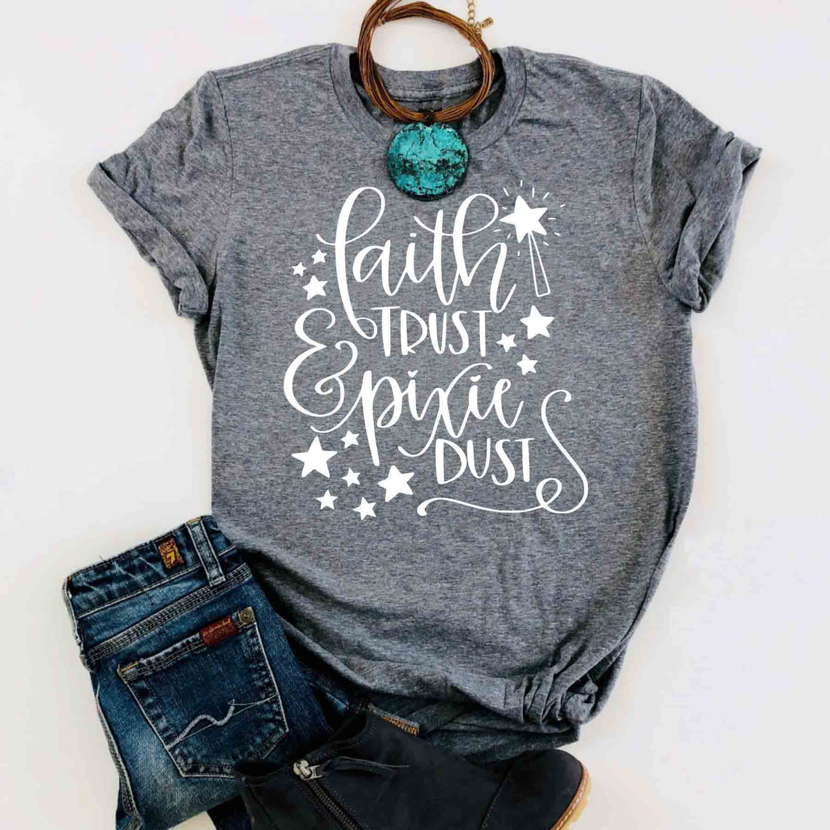 Faith Trust & Pixie Dust t-shirt young girl style women fashion cotton casual Christian t-shirt pretty cotton slogan vintage tee