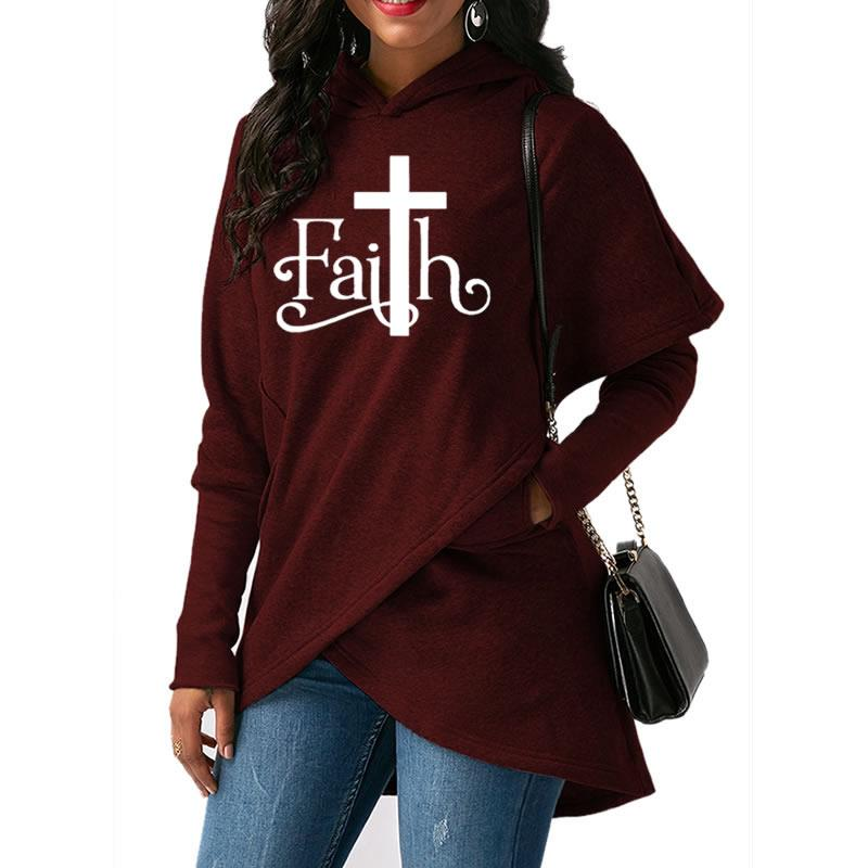 High Quality Large Size Dropshipping 2019 New Fashion Faith Print Sweatshirt Femmes Sweatshirts Hoodies Women Female Clothings