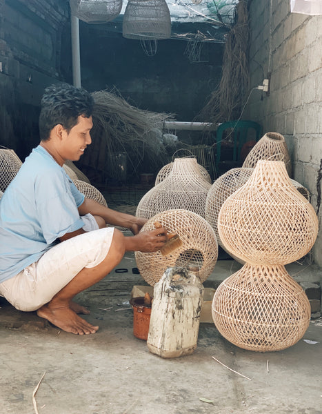 Large round rattan lampshade handmade by artisans in Indonesia