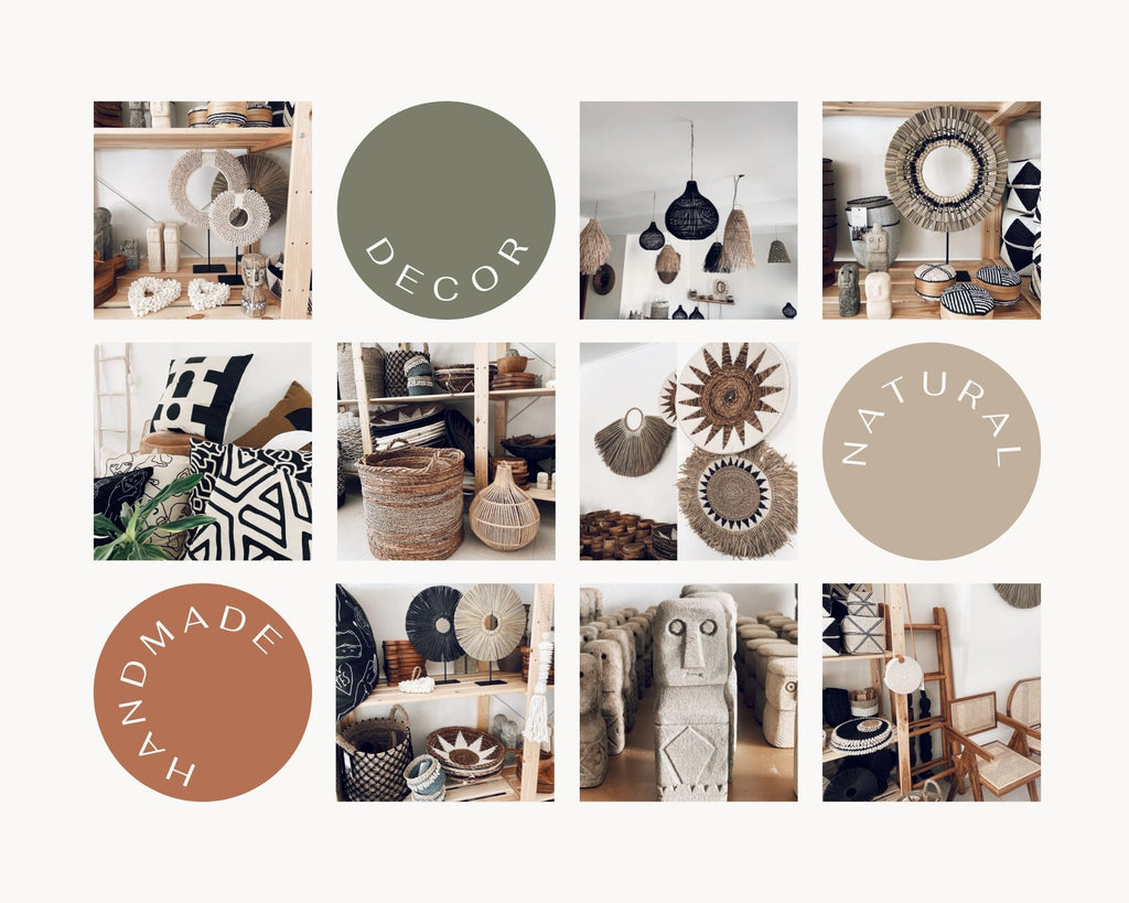 Collage of images from the Uma Cantik showroom with boho and island vibe home decor, including rattan lampshades, seagrass baskets, wall plates and wall hangers and table accessories