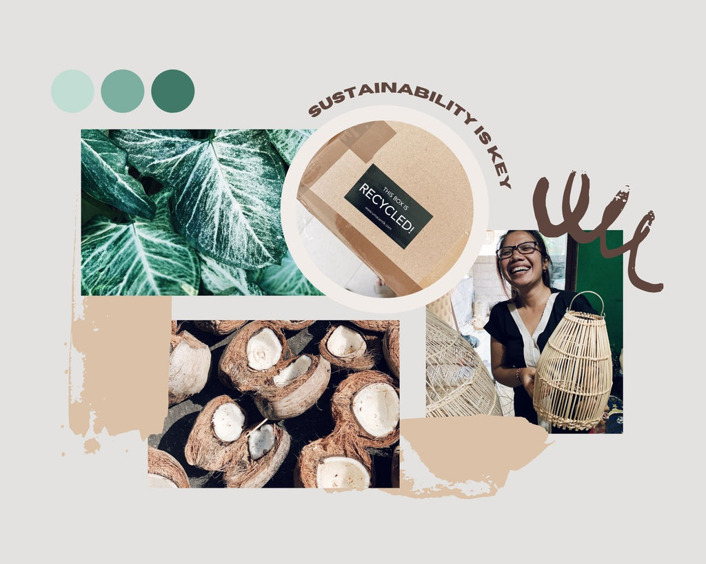 Image collage for the Uma Cantik sustainability page with a recycling sticker, an artisan with a handmade rattan lampshade, coconut shells and green leafs