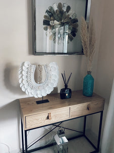 White Beach Shell Decor on Stand