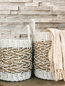 Alila ethically sourced woven basket white medium