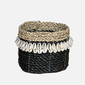 Cowrie Shell Basket Black - L