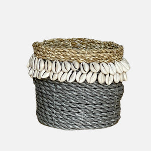 Cowrie Shell Basket Grey - L