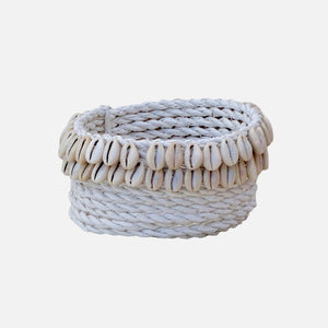 Cowrie Shell Basket White - S