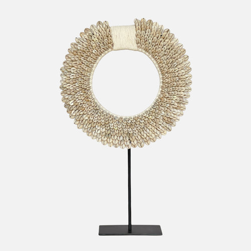 Cowrie Sunrise Shell Decor on Stand - M