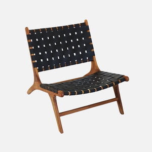 Lorosae Leather Lounge Chair - Black