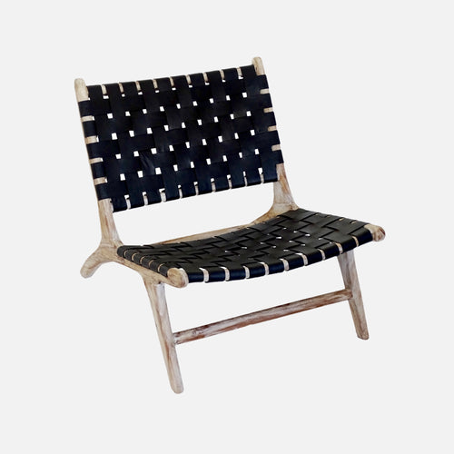 Lorosae Leather Lounge Chair - Black & Whitewash