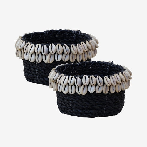 Cowrie Shell Basket Black - S - Set of 2