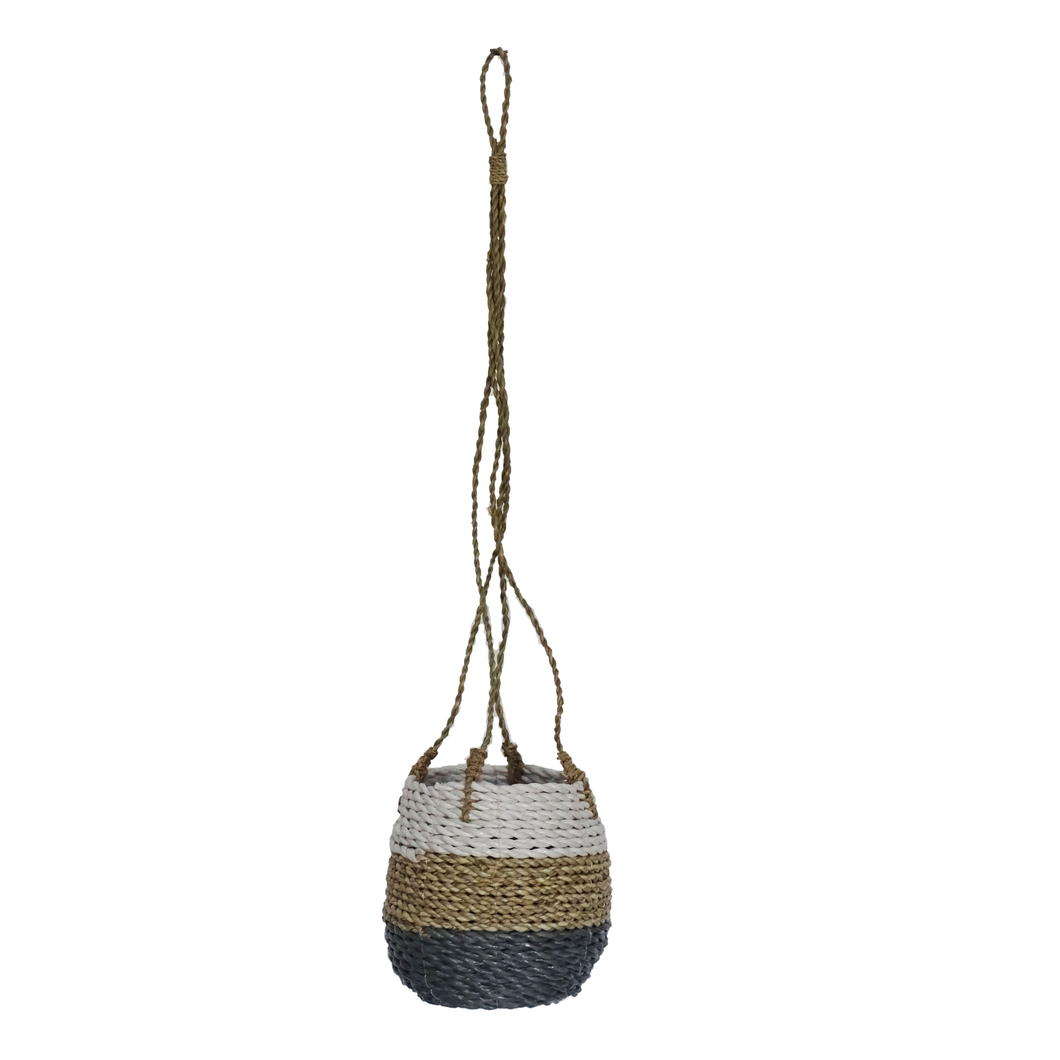 Seba Hanging Pot Basket - Tricolor Grey