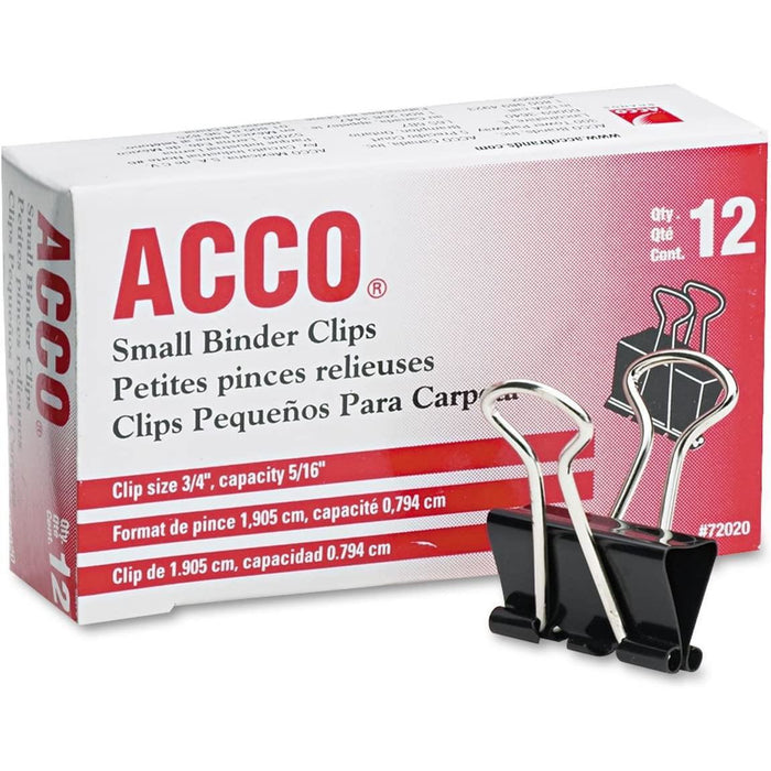 "ACCO Small Binder Clips, 3/4"" Paper Clamps, Black, 12 Count"