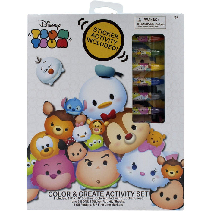 Disney Tsum Tsum Color & Create Coloring Activity Set with Stickers, Oil Pastels, and Fineliner Markers