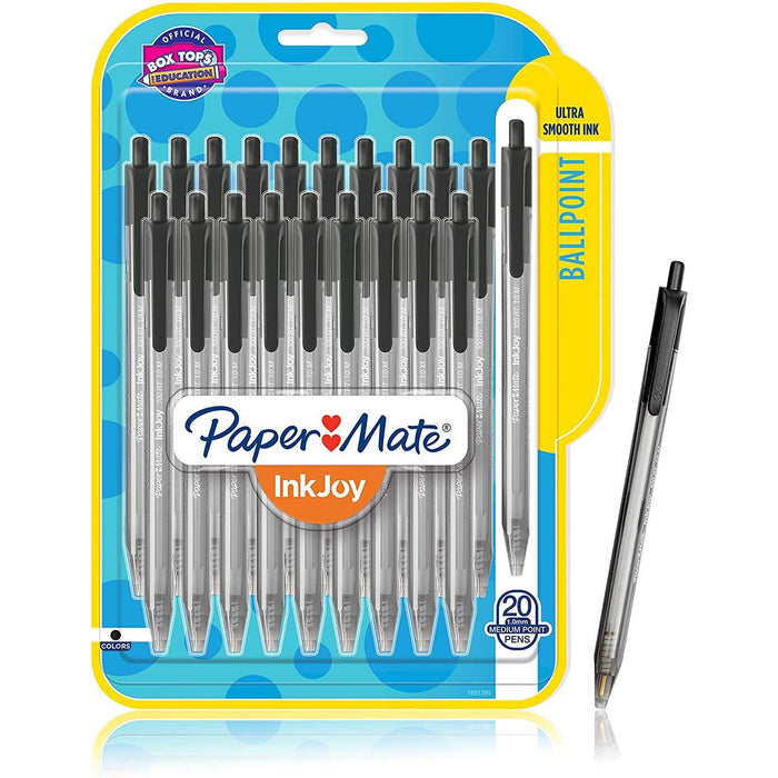 Paper Mate InkJoy 100RT Retractable Ballpoint Pens, Medium Point, 1.0mm, Black Ink, 20 Pack