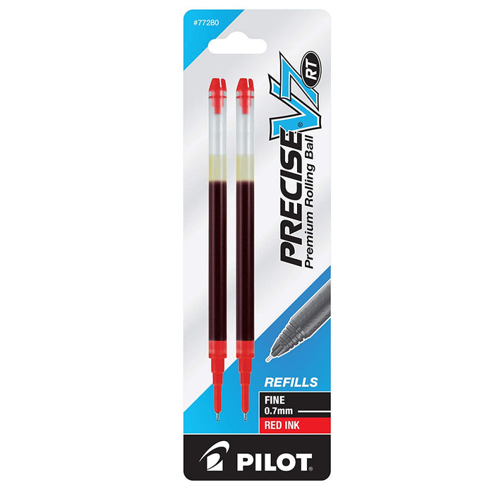 Pilot Precise V7 RT Premium Rolling Ball Ink Refills, 0.7mm, Fine Point, Red Ink, 2 Count