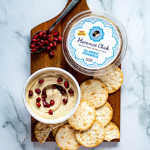 Load image into Gallery viewer, Hummus Chick classic hummus is both gluten-free and certified Kosher. Enjoy with some crackers or carrots and a side of olives