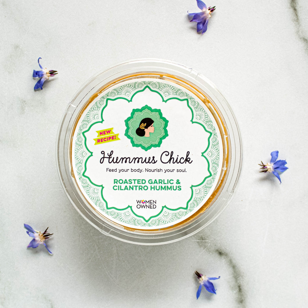 Hummus Chick's roasted garlic and cilantro hummus is the perfect addition to your fridge!