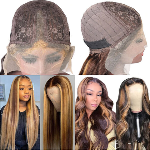 highlight color T part lace front wig