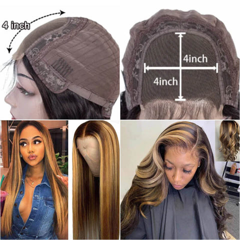 uwigs highlight color 4x4 lace front human hair wigs