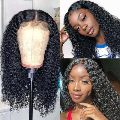 Cambodian Hair Wavy Hair Curly Hair Wig 4*4 Lace Front 10A Virgin Human Hair Wigs