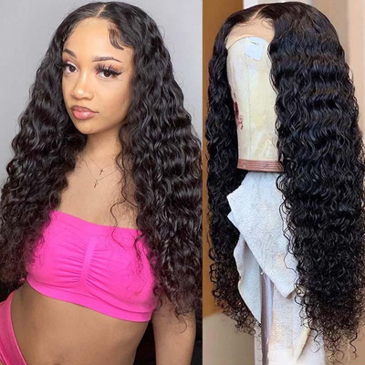 uwigs Deep Wave Hair Wig HD Transparent Lace Front Wig T Part Wigs
