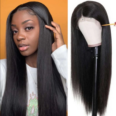 Uwigs Straight Hair Wig HD Transparent Lace Front Wig T Part Wigs