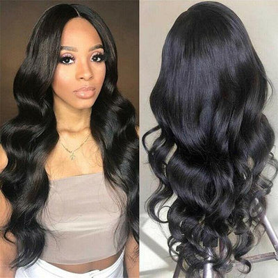 Cambodian Hair Wig Wavy Hair Body Wave Wig 4*4 Lace Front Wig 100% Human Hair Wigs