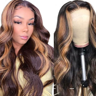 uwigs highlight brown blond body wave t part wig