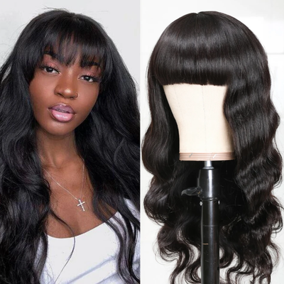 UWigs 10A Brazilian Body Wave Human Hair Wig With Free Part Bangs Machine Made Glueless Breathable Wig Supper Affordable