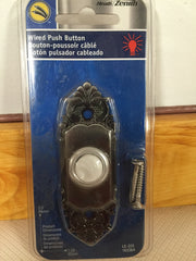 Heath /Zenith Lighted Pewter Door Bell Wired Push Button LE-225