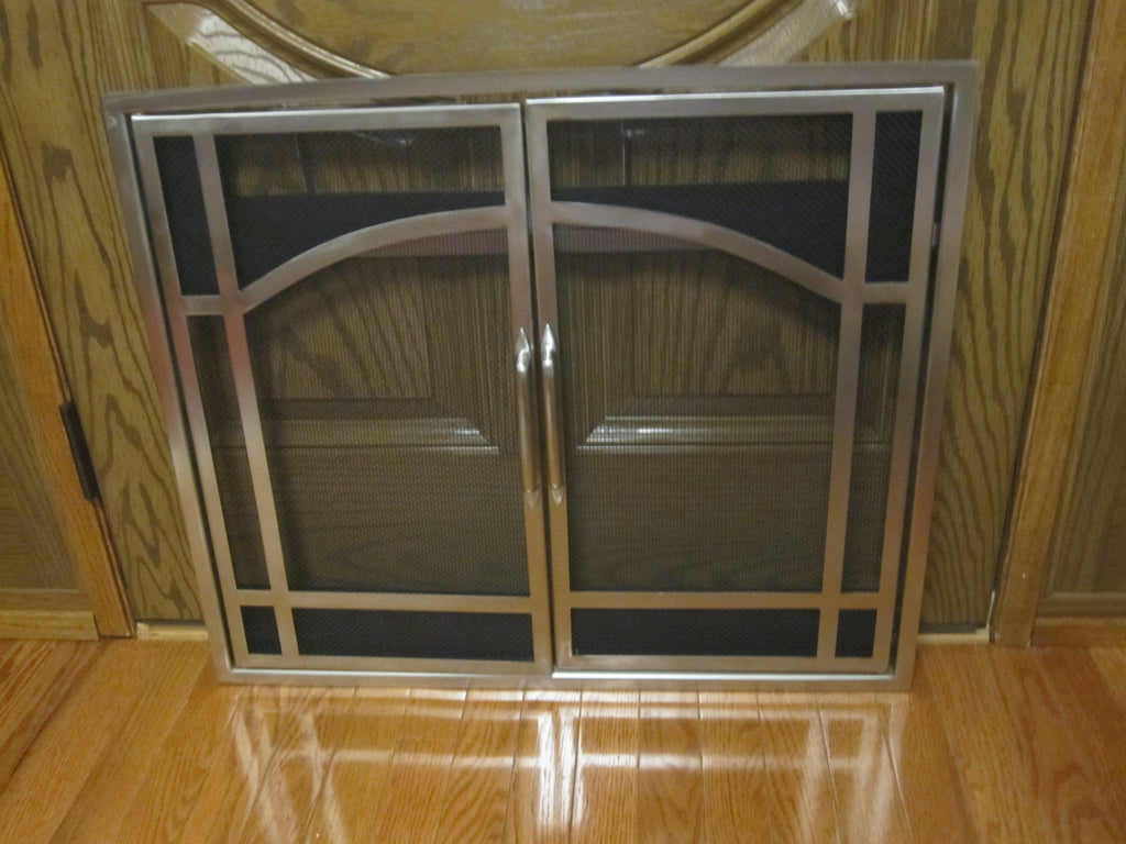 Dimplex Electra Flame Brushed Nickel Fireplace Screen Doors Et26 2dr