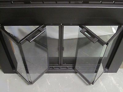 Stoll Black Bi Fold Smoke Glass Fireplace Door With Screen Doors 37