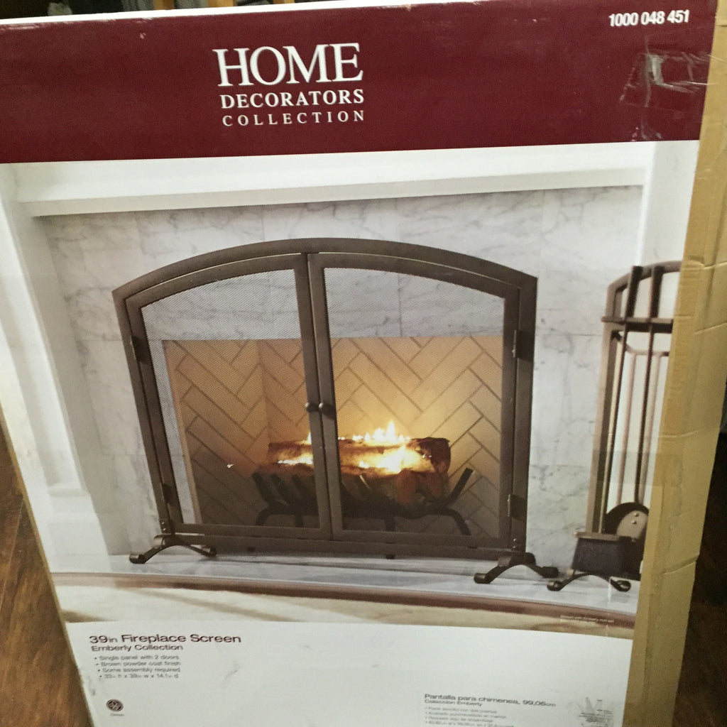 Home Decorators Emberly Collection Brown 39 Fireplace Screen 1000