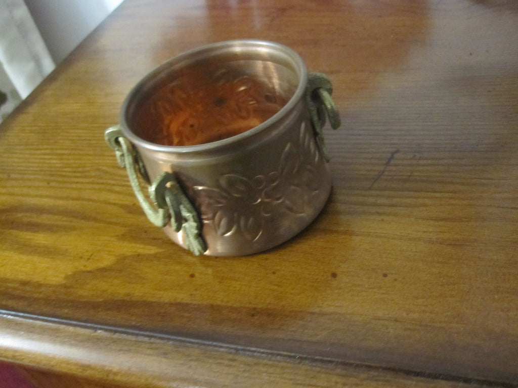 Vintage Small& Rustic Solid Copper Pot/Bowl With Brass Handles ...